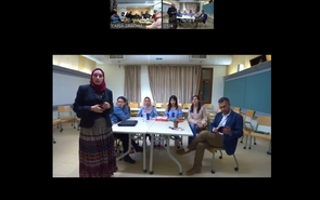 A screenshot of students and professors from the American University in Cairo preparing to present commercial building design projects to their peers at the UA.