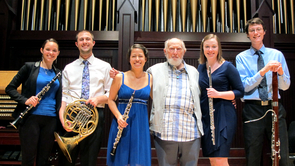 Fred Fox in December 2014 with members of the UA's premier chamber group, the Fred Fox Graduate Wind Quintet.