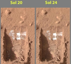 """These color images were acquired by NASA's Phoenix Mars Lander's Surface Stereo Imager on the 21st and 25th days of the mission, or Sols 20 and 24 (June 15 and 19, 2008).  These images show sublimation of ice in the trench informally called """"Dodo-Goldilocks"""" over the course of four days.  In the lower left corner of the left image, a group of lumps is visible. In the right image, the lumps have disappeared, similar to the process of evaporation. (Credit: NASA/JPL-Caltech/University of Arizona/Texas A&M University)"""