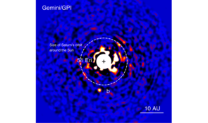 Discovery image of the planet 51 Eridani b with the Gemini Planet Imager taken in the near-infrared light on Dec. 21, 2014. The bright central star has been mostly removed to enable the detection of the exoplanet 1 million times fainter.  (Image: J. Rameau/UdeM and C. Marois/NRC Herzberg)