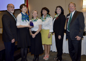 Arizona 4-H Youth Development accepting the Governor's Volunteer Service Award in Mesa, Ariz., April 25, 2014. Pictured from left: Bryan Chadd, 4-H Youth Development associate agent; Paige Hill, Green Team 4-H; Deanna Mason, Lehi 4-H Club Leader; Kelly Slade, Lehi 4-H Club Leader; Dru Alberti, Queen Creek 4-H Club Leader; Kirk Astroth, director, Arizona 4-H Youth Development. Photo credit: Governor's Office for Children, Youth and Families)
