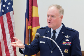 "Air Force Maj. Gen. Roger Teague: ""Space security requires significant research and development."" (Photo: Ernesto Trejo/UANews)"