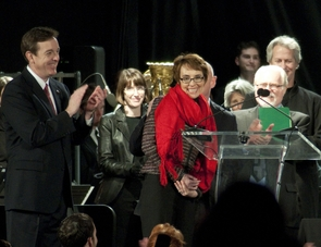 Rep. Gabrielle Giffords, in red, will join the UA National Institute for Civil Discourse's National Board of Advisors. (Photo by Patrick McArdle/UANews)