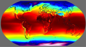 Reds, oranges and yellows represent areas with high yearly average temperature. Blues and purples indicate low temperature. If temperature directly influenced plant growth, then we would expect the dark green regions in the video below to align with the red areas on this temperature map.