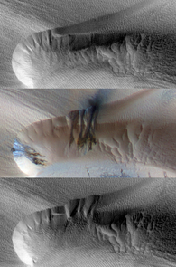 Seasonal activity in a Martian dune: Every year, a seasonal polar cap of condensed carbon dioxide (dry ice) covers dune fields at high latitudes. Spring found the ice changing from solid to gas, causing sand to avalanche down the dune (middle). The following summer, the ice was gone. Instead, wind ripples appeared on the debris apron (bottom). (Credit: NASA/JPL/The University of Arizona)