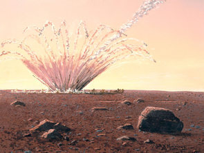 Artist's conception of an asteroid impact on Mars. (Image painted by William K. Hartmann, co-founder of the Planetary Science Institute, Tucson, Ariz. No reproduction without permission by the artist, hartmann@psi.edu.)