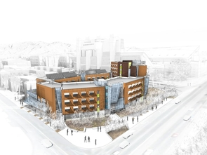 Rendering of new Sixth Street/Highland residence hall.