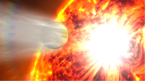 "This artist's impression of ""Hot Jupiter"" HD 189733b illustrates its extended hydrogen atmosphere exposed to the energetic input streaming from its nearby star, including a strong stellar flare. (Illustration by Space Telescope Science Institute, Baltimore, Md.)"