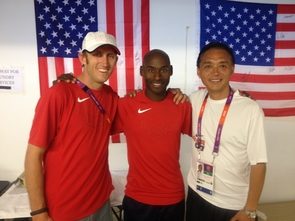The U.S. contingent in London included Williams, distance runner Bernard Lagat (center) and UA coach James Li. (Photo courtesy of Dustin Williams)