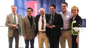 David Allen with (left to right) Jinhong Zhang, Dominic Gervasio, Abe Jalbout, Moe Momayez and Kimberly Espy. (Photo credit: Paul Tumarkin/Tech Launch Arizona)