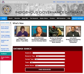 Visitors to the Indigenous Governance Database can search a variety of topics related to Native nation governance.