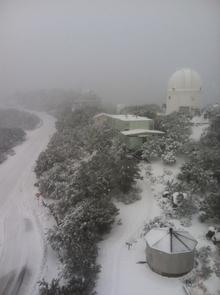 Southern view of Kitt Peak from the Steward Observatory Bok telescope. (Photo credit: Joe Hoscheidt)
