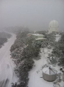 Southern view of Kitt Peak from the Steward Observatory Bok telescope. (Photo credit: Joe Hoscheidt)