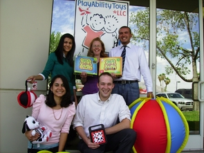 Eller College of Management students are working with PlayAbility Toys, a company that makes toys for kids who have special needs. L-R, clockwise from standing: Karen Flores, Jayne Turner, Ernesto Carrizoza, Nicholas Ufford, Maria Billias. (Photo courtesy of Maria Billias)