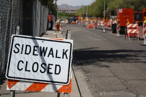 Construction signs and barricades will be a fact of life on campus until late 2013. (Photo by Jeff Harrison/UANews)