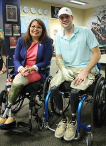 During their visit, U.S. Reps. Duckworth and Barber also met with a number of UA student veterans, including architecture senior and Tillman Military Scholar Brian Kolfage. (Photo credit: Chris Sigurdson/UANews)