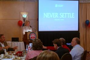 """UA President Ann Weaver Hart presents the University's strategic plan, """"Never Settle,"""" in Prescott."""