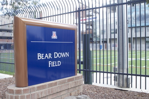 Bear Down Field is hiding a secret. Under the north edge of the field lies a one million gallon tank designed to mitigate storm flows and harvest storm water.