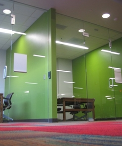 Student study rooms in the lower level of the Law Commons are splashed with fresh and vibrant colors.