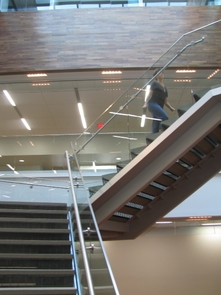 The stairwell is a strong feature in the new Law Commons and sits just below a well that delivers natural light to the building.