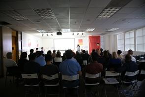 John Jackson pitches BDiAB to a full house at TechCode in Mountain View, California. (Photo: Paul Tumarkin/Tech Launch Arizona)