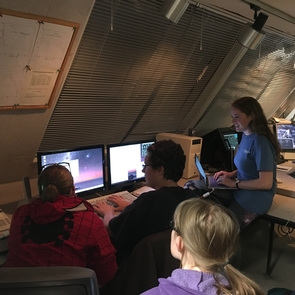 UA students collecting data in the control room of the 12-meter radio telescope. (Photo: Yancy Shirley)
