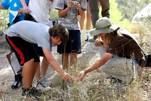 """""""Find an animal hole, find three types of cactus, find a rock that sparkles and tell me what mineral makes it sparkle."""" Pacifica Sommers gave the students a scavenger hunt for natural treasures to complete as they journeyed up the mountain. (Photo by Alan Strauss)"""