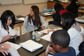 Students at Maxwell Middle School participate in a science experiment run by the UA's Jr. BIOTECH program.