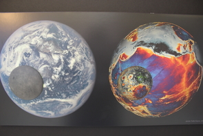 """""""The Moon, in Gravity"""" by James Tuttle Keane. This piece illustrates the topography of the Earth and moon based on actual data. (Photo: Nathan Taylor)"""