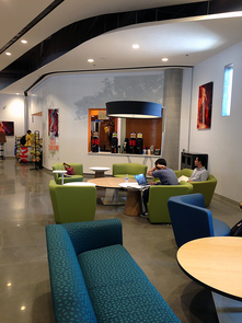 The Student Union designed custom wallpaper with Arizona mesquite and palo verde trees and installed slot canyon photography to enhance the setting at the Slot Canyon Café. (Photo: Sara Rohde/Arizona Student Unions)