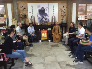 Tea and conversation at Yanfu (Extending Blessings) Monastery in Wuyi with the abbot, Professor Qiu of Jiliang University, professor Paul Crowe of Simon Fraser University and UA professor Albert Welter and students