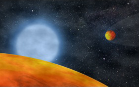 Artist's rendition of two hot Earth-sized planets orbiting a subdwarf B star. (Illustration: S. Charpinet)