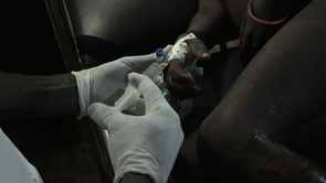 A dose of antivenom is injected, very slowly, into the vein of a young boy in sub-Saharan West Africa.