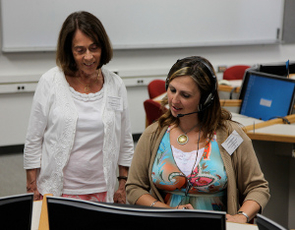 Estela McDonough (left) of the University of Massachusetts is one of the faculty associates with the National Center for Interpretation that helps to offer students comprehensive translation and interpretation training. (Photo courtesy of the National Center for Interpretation, Testing, Research and Policy at the UA)