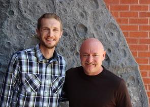 Filmmaker Jason Davis (left) with the film's narrator, Capt. Mark Kelly, at the Flandrau Science Center and Planetarium.
