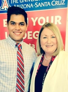 Juan Andres Espinoza, a UA South student, met UA President Ann Weaver Hart during her statewide engagement visit to Nogales, Ariz. in May.
