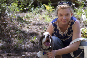 Kim Kelly with her dog, Katie