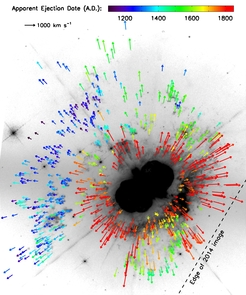 Here, color-coded arrows trace the observed proper motions of 792 features in the ejecta of Eta Carinae. Until now, only one eruption was known (red arrows). Blue and green arrows mark previous eruptions (mid-13th and mid-16th centuries, respectively). (Image: Kiminki et al./NASA)