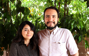 Michelle Aguilera and Christian Ruvalcaba are collaborators on the Language Capital Project, which provides a way for non-national language speakers to locate areas where fellow speakers gather so that they can form bonds. (Photo credit: Jamie Manser)