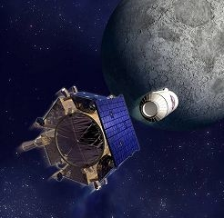 An artist's illustration shows the LCROSS mission shepherding a satellite releasing its SUV-sized rocket toward the moon.