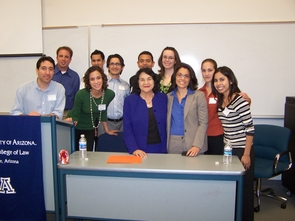 Students from the Latino Law Student Association are joined by Dolores Huerta at a campus event.