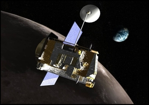 (Click image to enlarge) The Lunar Exploration Neutron Detector aboard the LRO spacecraft orbiting the moon measures neutron radiation from the moon's surface, allowing scientists to infer the distribution of water in the soil. (Image: NASA)