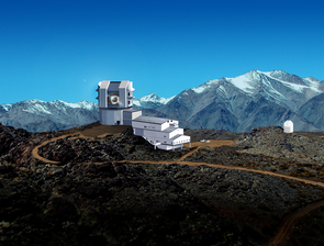 Perched atop Cerro Pachón in Chile, the Large Synoptic Survey Telescope, or LSST, will scan vast sections of the night sky for fleeting objects such as supernovae or passing asteroids. (Illustration: Michael Mullen Design, LSST Corp.)