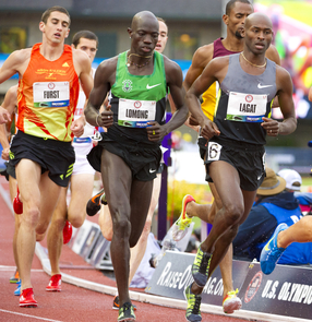 Bernard Lagat took fourth place in the men's 5,000-meter race, missing a medal by .63 seconds.