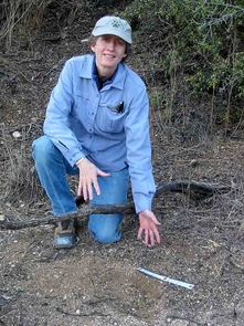 Lisa Haynes points out a lion scrape - a scratch mark clawed into the soil by a mountain lion marking his territory.