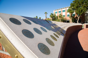 Rows of medallions honoring the 1,177 servicemen who lost their lives aboard the USS Arizona await Sunday's dedication on the UA Mall. (Photo: Aengus Anderson)