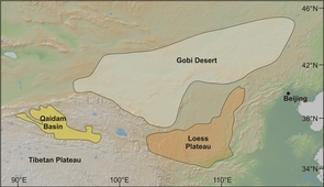 (Click image to enlarge) This map shows Central Asia's Qaidam Basin, Gobi Desert and Loess Plateau. A research team led by UA geoscientist Paul Kapp suggests that during glacial times, winds blew dust from the Qaidam Basin to the Loess Plateau and deposited more than half of the dust currently in the Loess Plateau. During interglacial times such as the present, the westerly winds shift north and blow dust from the Gobi Desert to the Loess Plateau. (Credit: Paul Kapp, University of Arizona)