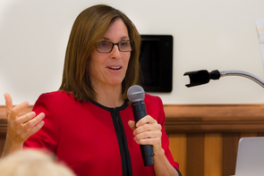 U.S. Rep. Martha McSally served as moderator for a panel discussion on space object behavior on the UA campus. (Photo: Ernesto Trejo/UANews)