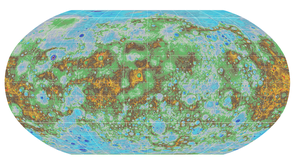 The United States Geologic Survey released this topographic map of Mercury in 2016. The highest elevations are colored red, and the lowest elevations are colored dark blue.