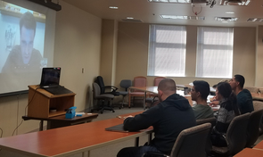 Students interact with a guest speaker via Skype. All classes, including guest lectures, are taught in Arabic to give students a language-intensive experience.